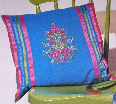Hungarian Floral Embroidery Cushion ~ Embroidery Pattern