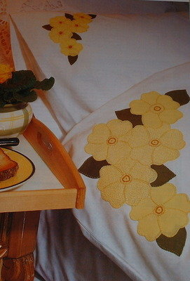 Applique Primula Flower Bedlinen ~ Applique Sewing Pattern