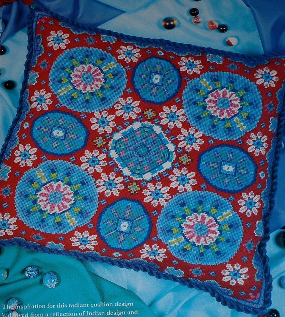 Ornate Indian Style Cushion ~ Cross Stitch or Needlepoint Pattern
