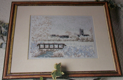 Winter Village Landscape Snow Scene ~ Cross Stitch Chart