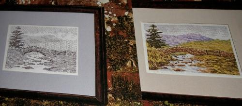 Stone Bridge over a River ~ Cross Stitch Chart & Blackwork Pattern