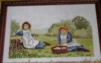 Victorian Children Picnic Scene ~ Cross Stitch Chart