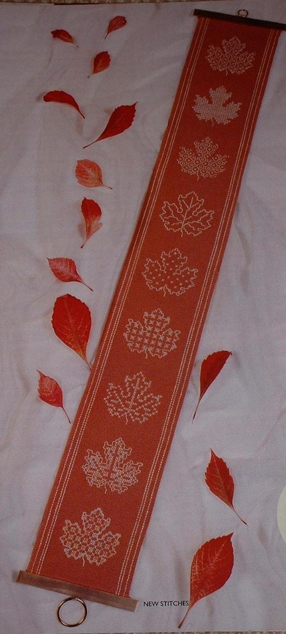 Blackwork Leaf Bellpull Blackwork Embroidery Pattern
