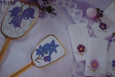 Alpine Squill, Clematis & Pansies ~ SIX Cross Stitch Charts