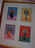 Beaded Flowers in Vases ~ Cross Stitch Charts