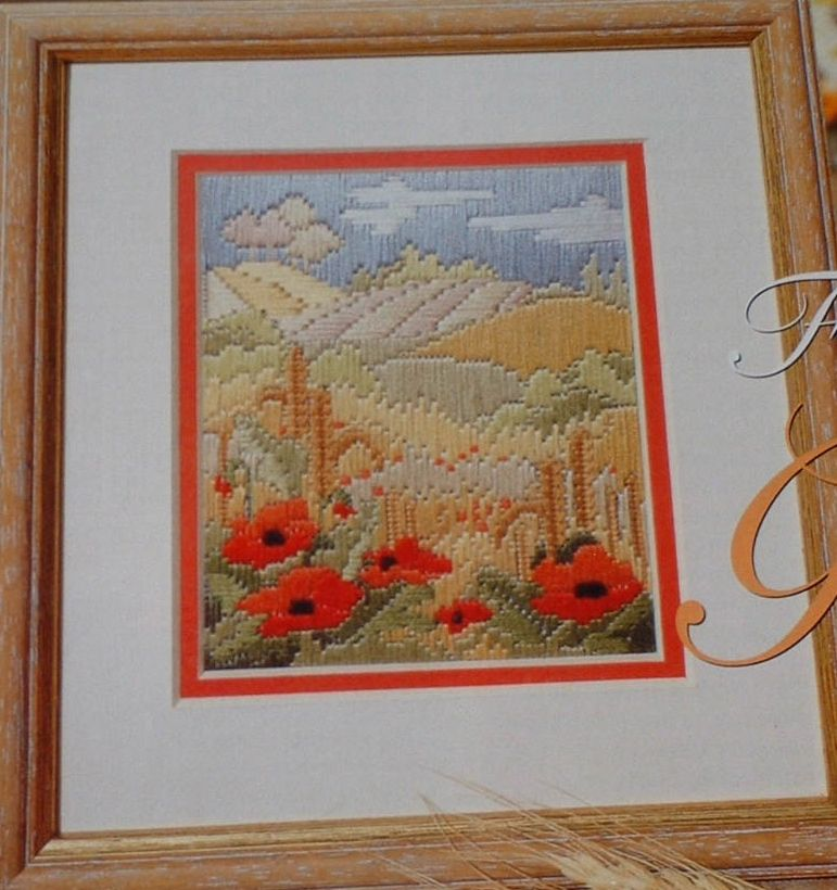 Poppy & Cornfields Scene ~ Needlepoint Pattern
