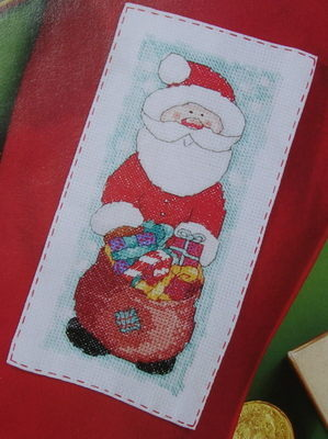 Christmas Santa with Sack Full of Presents ~ Cross Stitch Chart