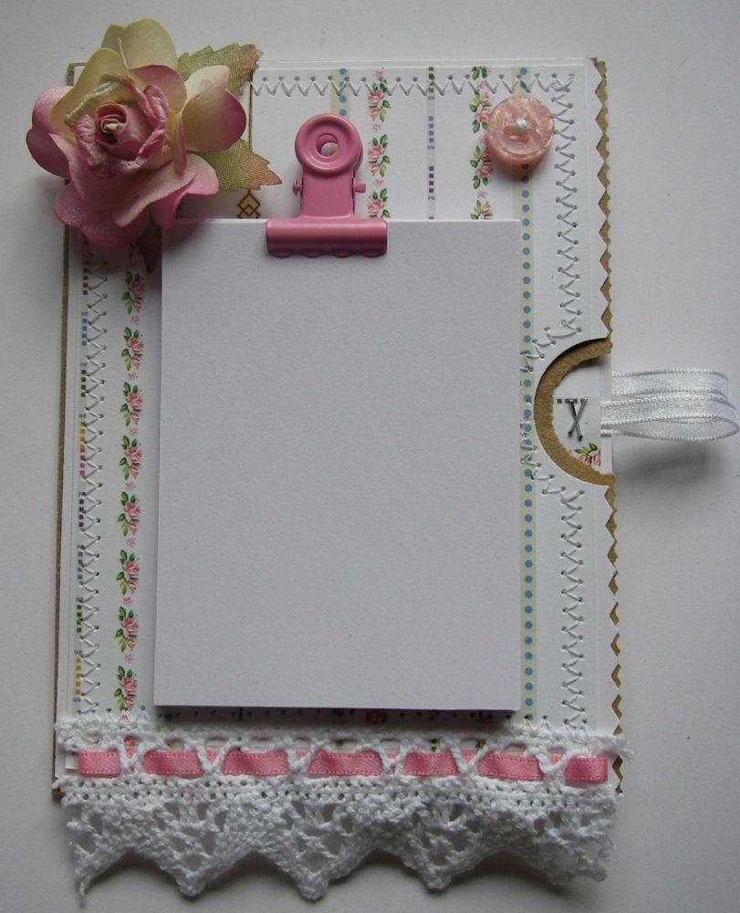 *pink rose* OOAK Handmade Paper Bag Fridge Magnet Notepad