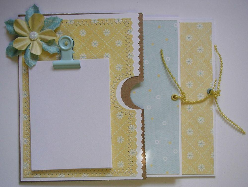 *yellow & blue* OOAK Handmade Paper Bag Fridge Magnet Notepad
