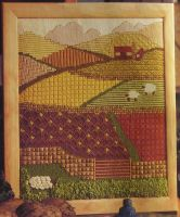 Country Farm Fields Landscape ~ Needlepoint Pattern