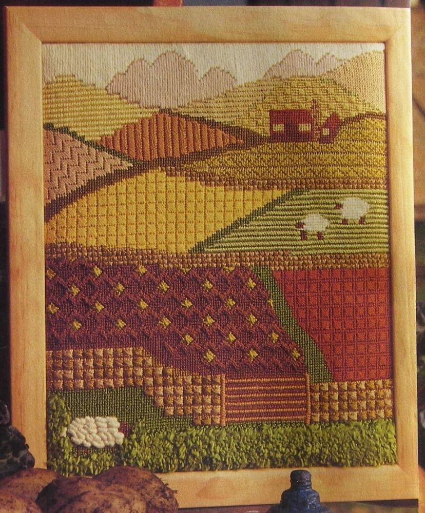 Country Farm Fields Landscape ~ Needlepoint Pattern