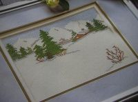 Winter Snow Scene with Pine Trees ~ Cross Stitch Chart