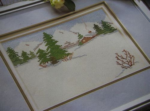 Winter Snow Scene with Pine Trees ~ Cross Stitch Chart