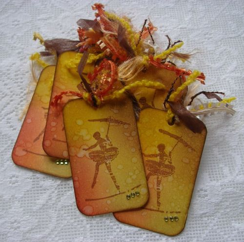 *tightrope walker* OOAK Handmade Vintage Birthday Celebration Tag