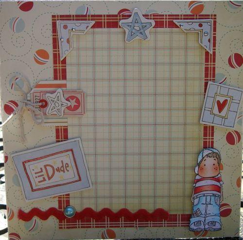 *lil' dude* OOAK Handmade Boy's Scrapbook Photo Frame