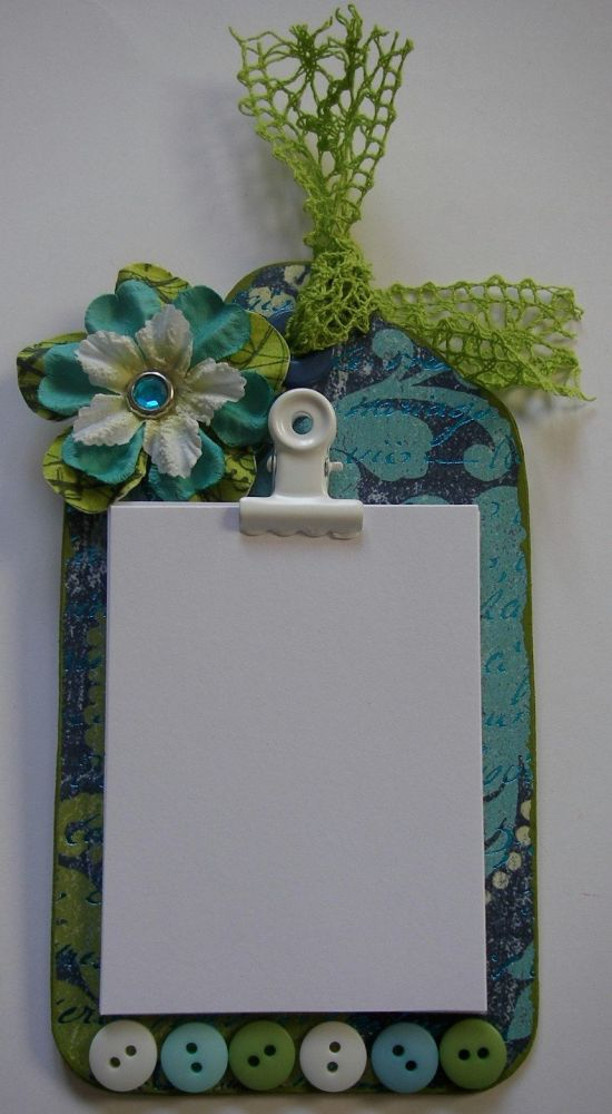 *green & blue script* OOAK Handmade Fridge Magnet Notepad