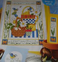 Blue Tit Birds on Watering Can & Flowers ~ Cross Stitch Chart