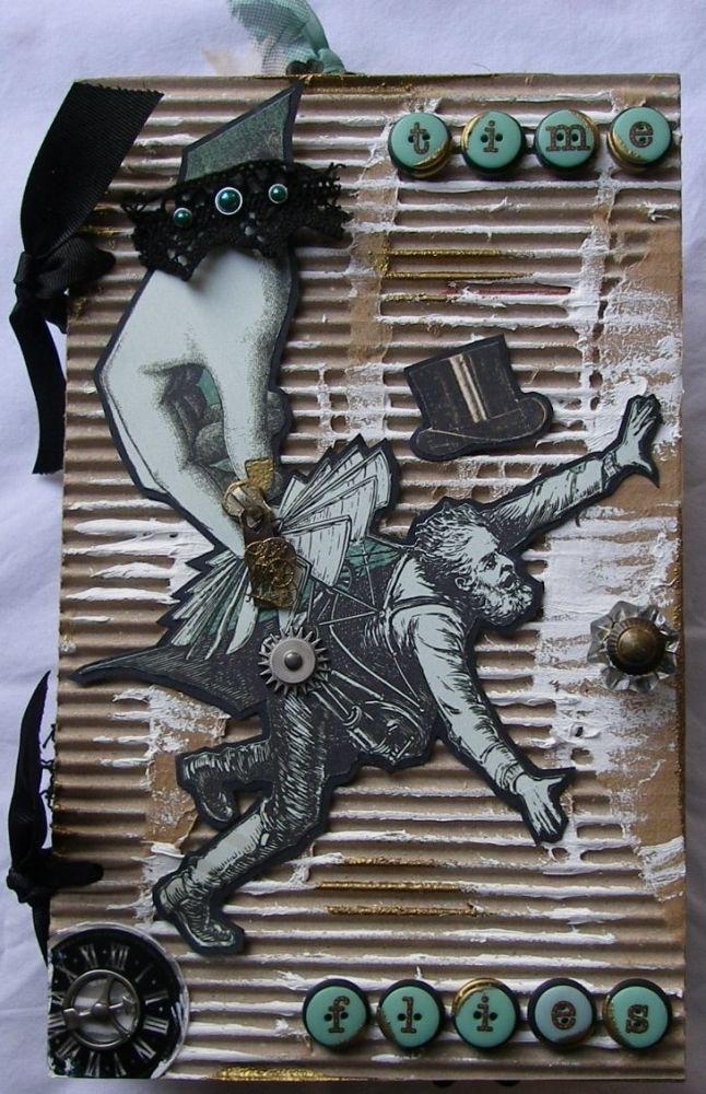 *time flies* OOAK Handmade Steampunk Paper Bag Scrapbook Album