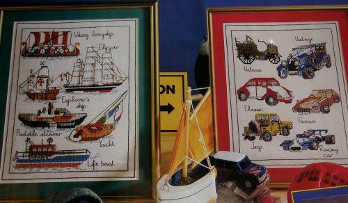 Vintage Ships & Automobiles ~ Twelve Cross Stitch Charts