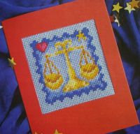 Libra Zodiac Cards ~ Needlepoint Pattern