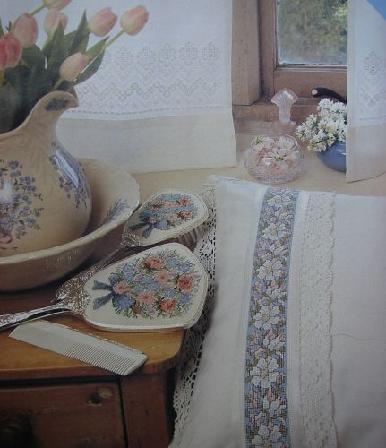 Hardanger Curtains & Apple Blossom Bedroom Linen ~ Cross Stitch Charts