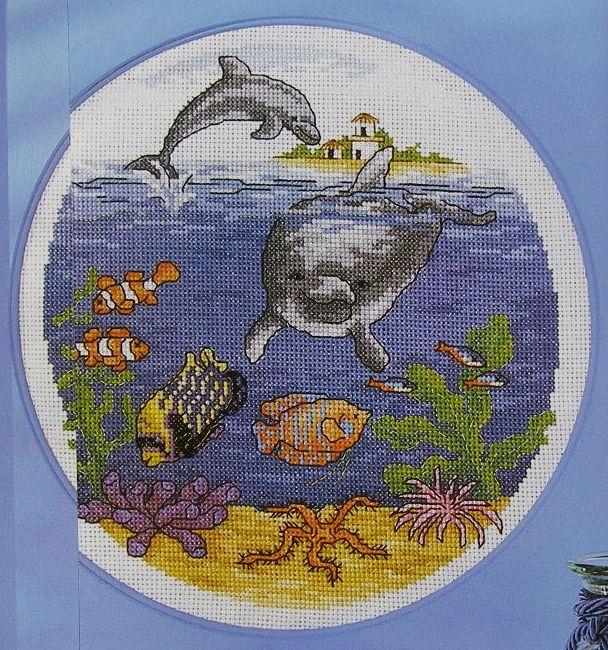 Underwater Dolphin & Fish Scene ~ Cross Stitch Chart