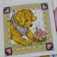 Puppy with Snail ~ Cross Stitch Chart