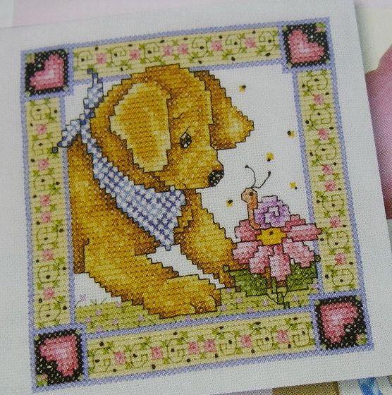 Puppy with Snail ~ Cross Stitch Chart
