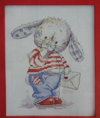 Somebunny Holding Delivering Mail ~ Cross Stitch Chart