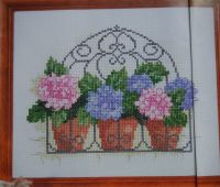 Hydrangeas in a Wrought Iron Basket ~ Cross Stitch Chart