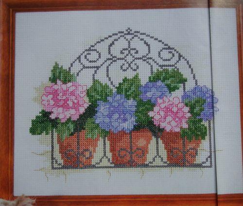 Flower Baskets Cross Stitch Charts : Hydrangeas wrought iron basket flowers cross stitch charts