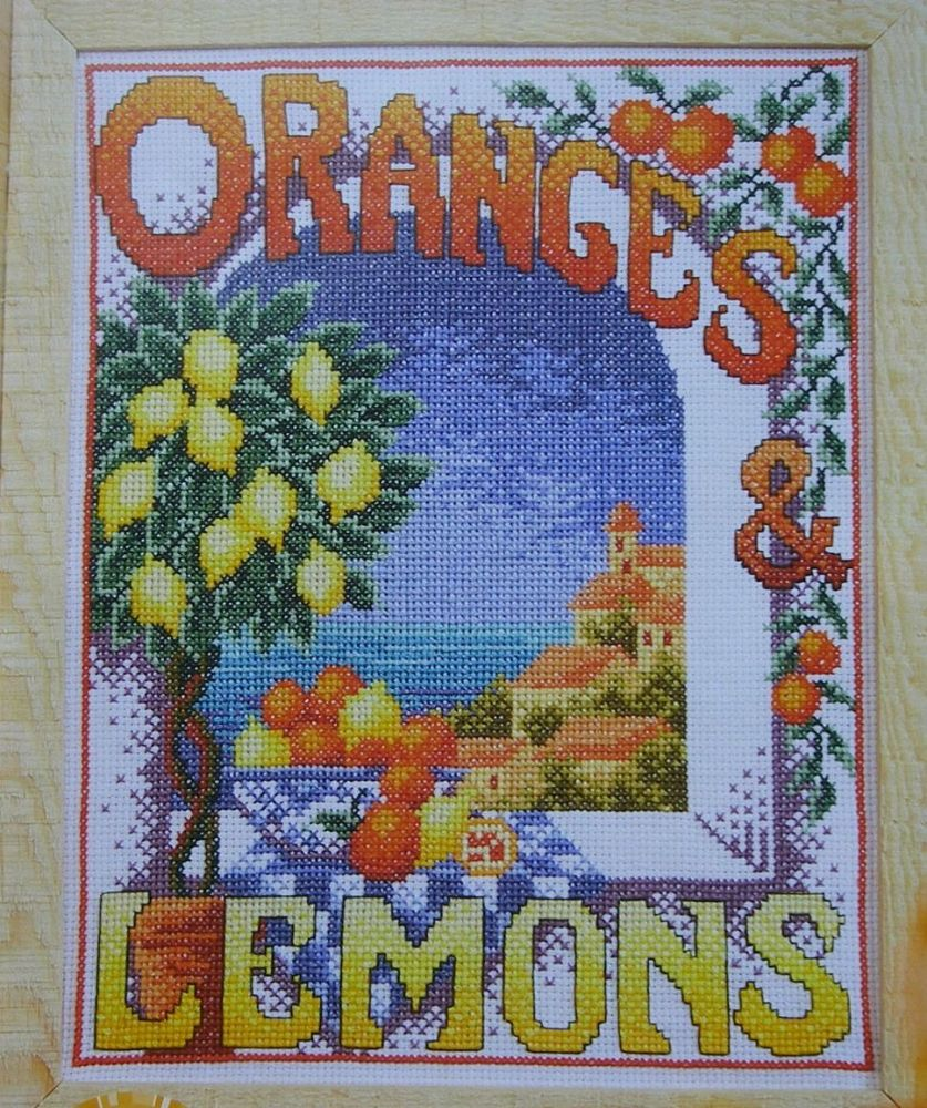 Oranges & Lemons Mediterranean Window ~ Cross Stitch Chart