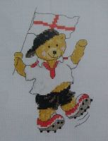 England Football Team Bear ~ Cross Stitch Chart