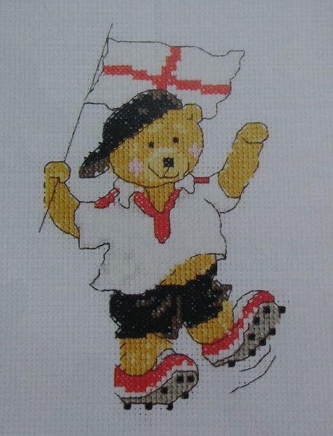 England Football Team Bear ~ Cross Stitch Chart