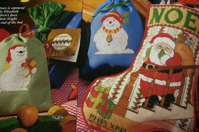 Santa Christmas Stocking Snowman Gift Sacks/Cards Cross Stitch Charts