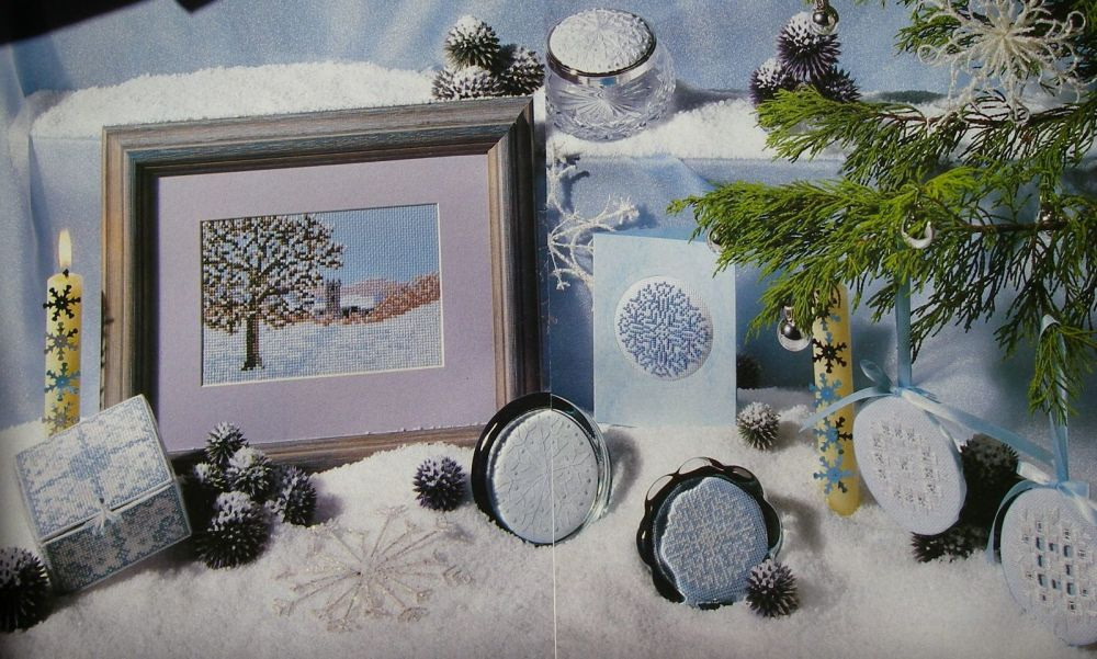 Winter Scene, Crystal Box & Snowflakes ~ Cross Stitch & Embroidery Patterns