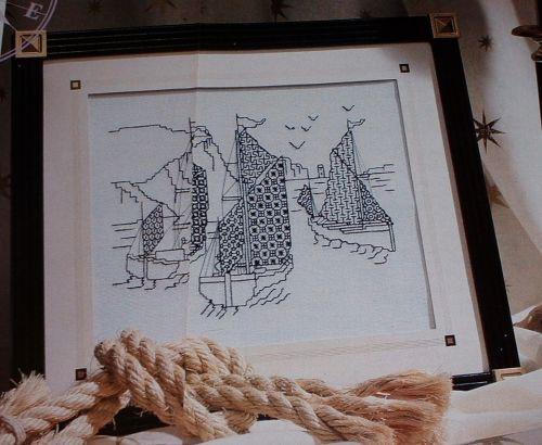 Nautical Yachting Scene ~ Blackwork Pattern
