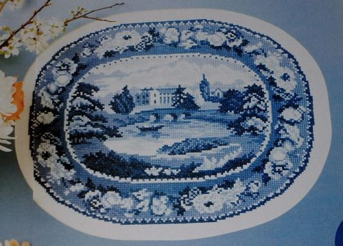 Blue & White Countryside Scene Plate ~ Cross Stitch Chart