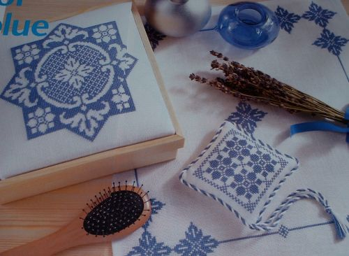 Blue & White Table Mat, Box Lid & Scented Sachet ~ Cross Stitch Charts