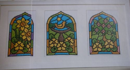 Trio of Stained Glass Windows ~ Cross Stitch Charts