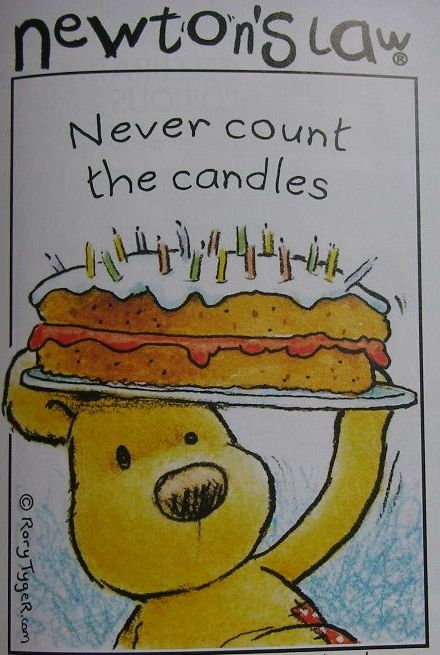 Newton's Law Bear: Never Count Candles ~ Cross Stitch Chart