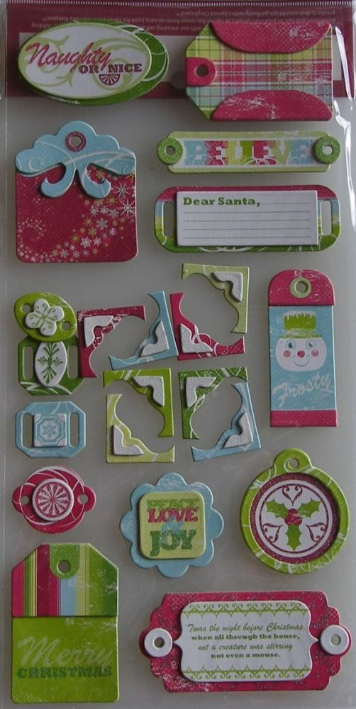 WRMK: White Out Christmas Tags ~ Adhesive Chipboard Stickers