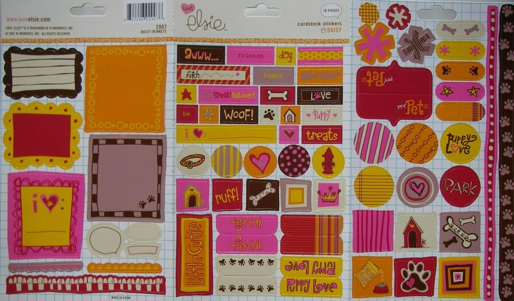 70 Love Elsie: Designer Dog Pet Stickers ~ Cardstock Stickers