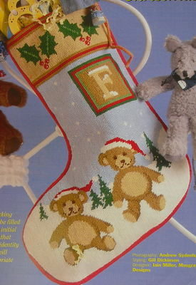 Teddy Bears in the Snow Christmas Stocking ~ Needlepoint Pattern