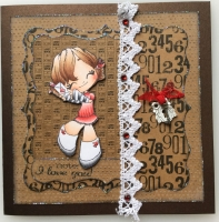 *note: i love you* OOAK Handmade Luxury Vintage Card