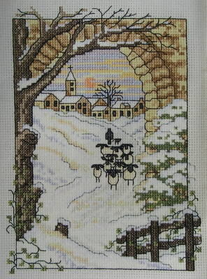 Snowy Village Scene with Sheep ~ Cross Stitch Chart