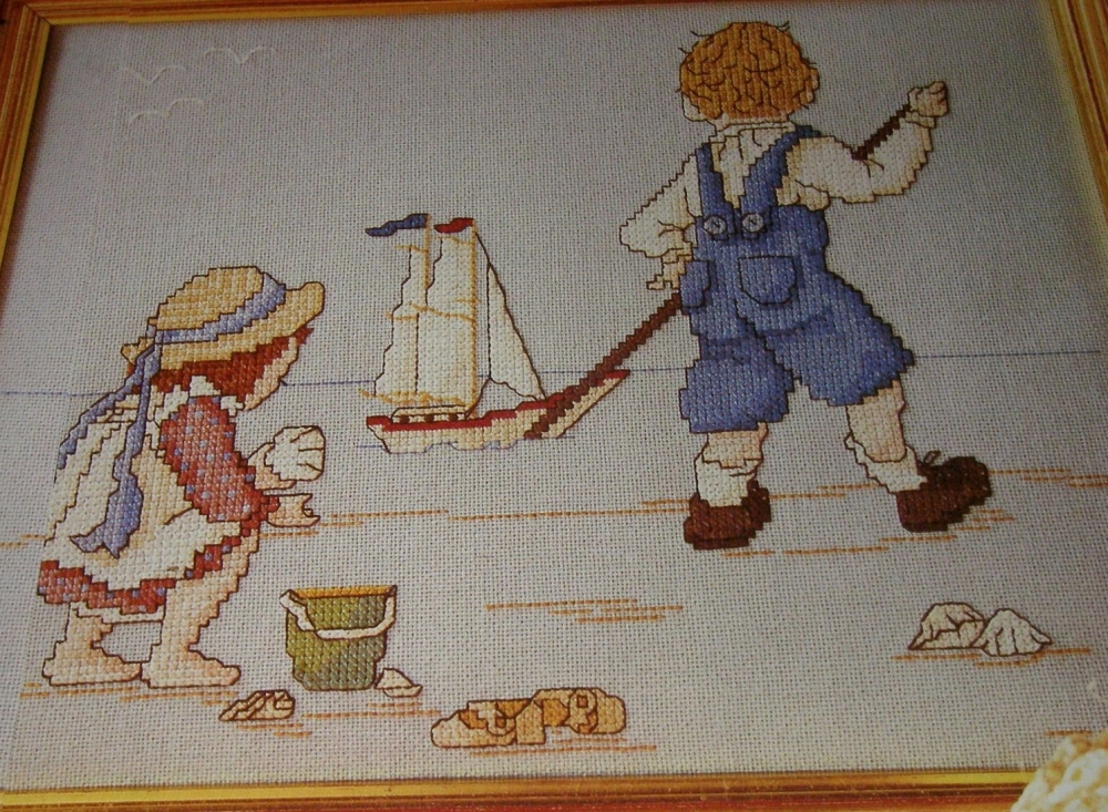 Children Playing on a Beach ~ Nostalgic Cross Stitch Chart
