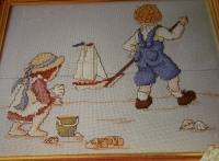 Children Playing on a Beach ~ Nostalgic Cross Stitch Chart