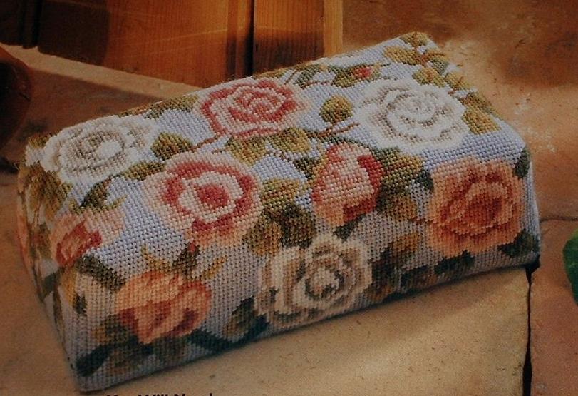 Rose Pattern Floral Brick Doorstop ~ Needlepoint Pattern