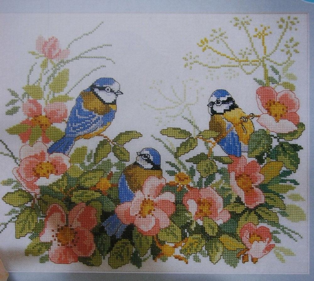 Family of Blue Tit Birds in a Summer Garden ~ Cross Stitch Chart